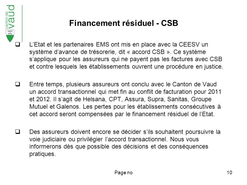 Page no10 Financement résiduel - CSB LEtat et les partenaires EMS ont mis en place avec la CEESV un système davance de trésorerie, dit « accord CSB ».