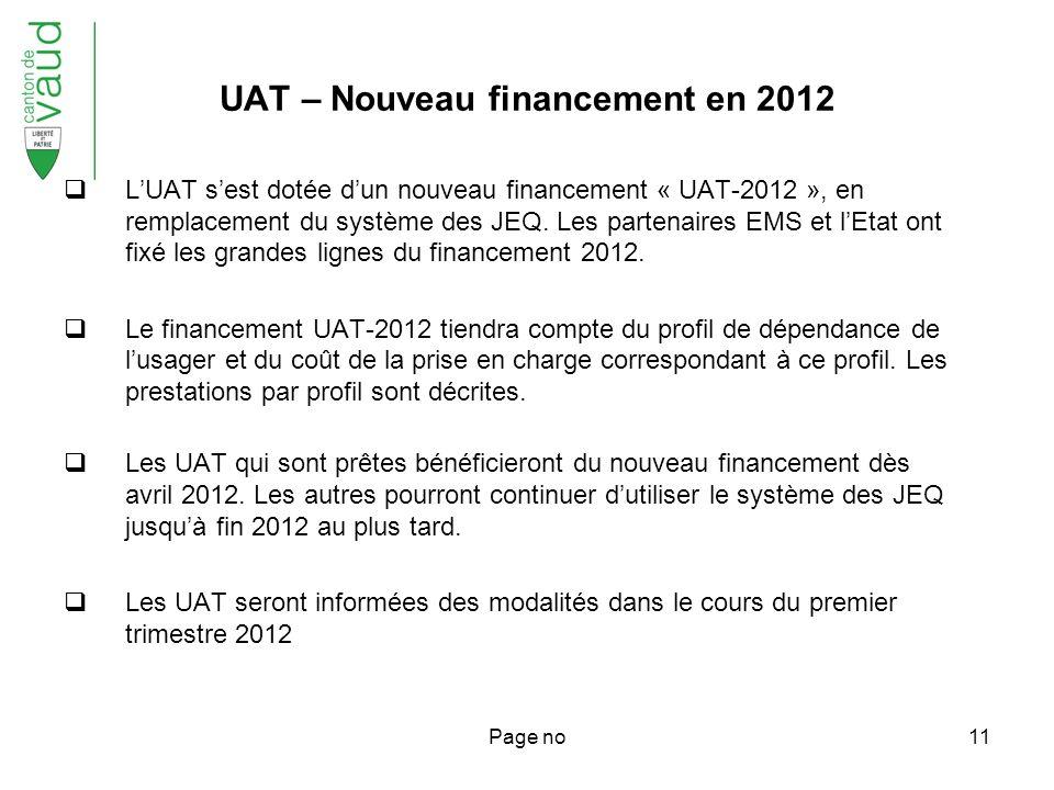 Page no11 UAT – Nouveau financement en 2012 LUAT sest dotée dun nouveau financement « UAT-2012 », en remplacement du système des JEQ.