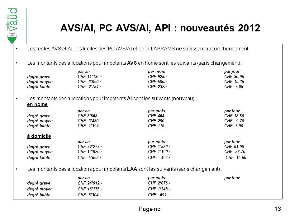 Page no13 Les rentes AVS et AI, les limites des PC AVS/AI et de la LAPRAMS ne subissent aucun changement.