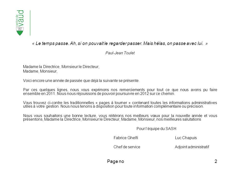 Page no3 Page 4.Gestion administrative avec le SASH – rappels 5.