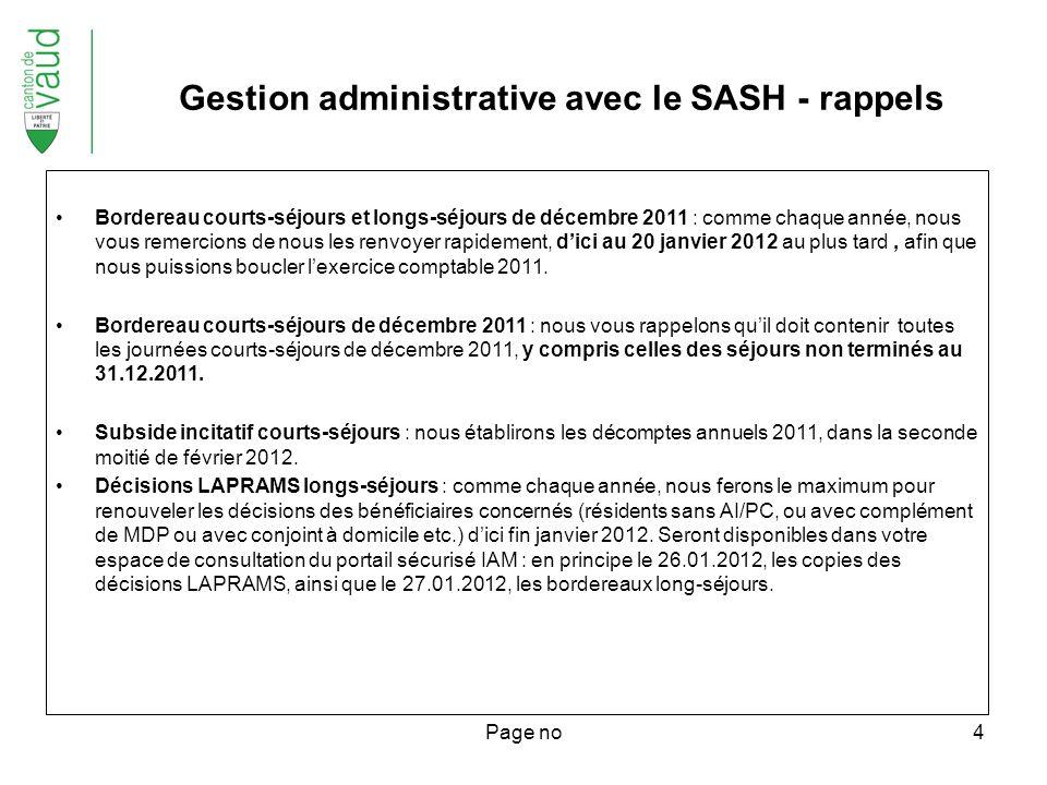 Page no5 Rappels Participation du résident à son court-séjour : elle reste fixée à CHF 60.- par jour.