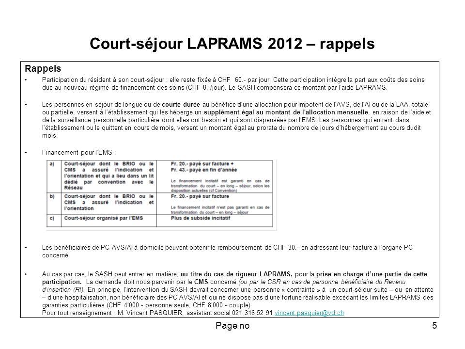 Page no6 Court-séjour LAPRAMS – rappels (suite) En cas dattente de placement dans un lit dédié, seuls les 30 jours suivant la date de la réunion du réseau qui en a décidé, justifient la facturation du subside incitatif.