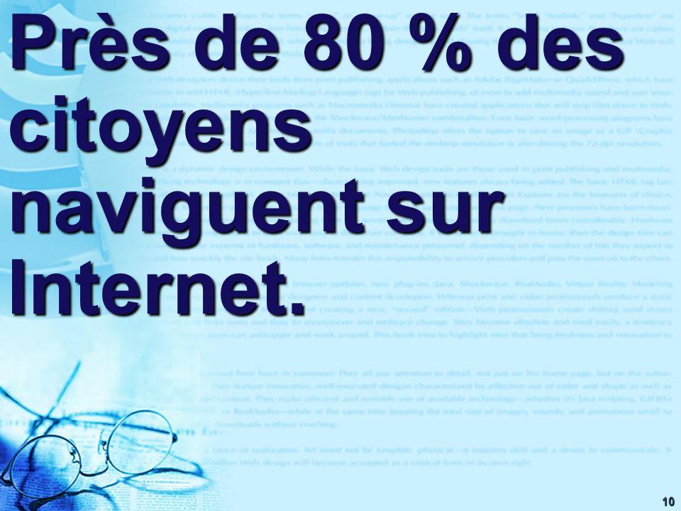10 Près de 80 % des citoyens naviguent sur Internet.