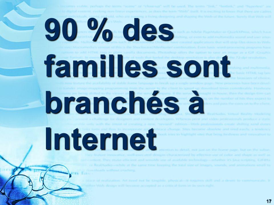 17 90 % des familles sont branchés à Internet