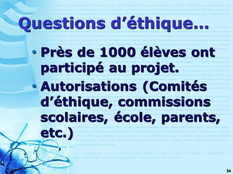 34 Questions déthique… Près de 1000 élèves ont participé au projet.