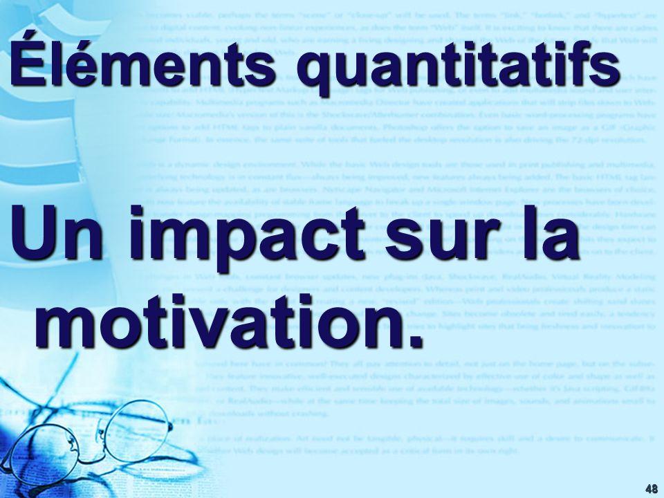 48 Éléments quantitatifs Un impact sur la motivation.