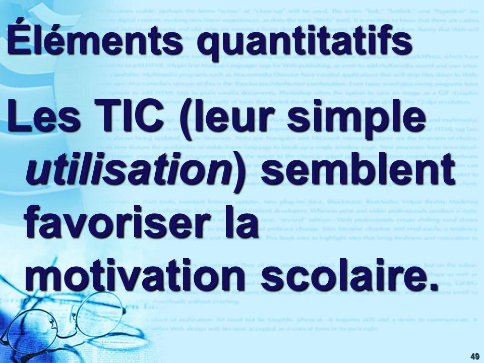 49 Éléments quantitatifs Les TIC (leur simple utilisation) semblent favoriser la motivation scolaire.