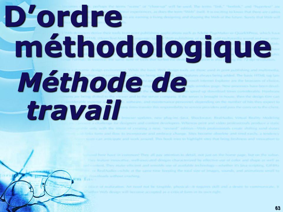 63 Dordre méthodologique Méthode de travail