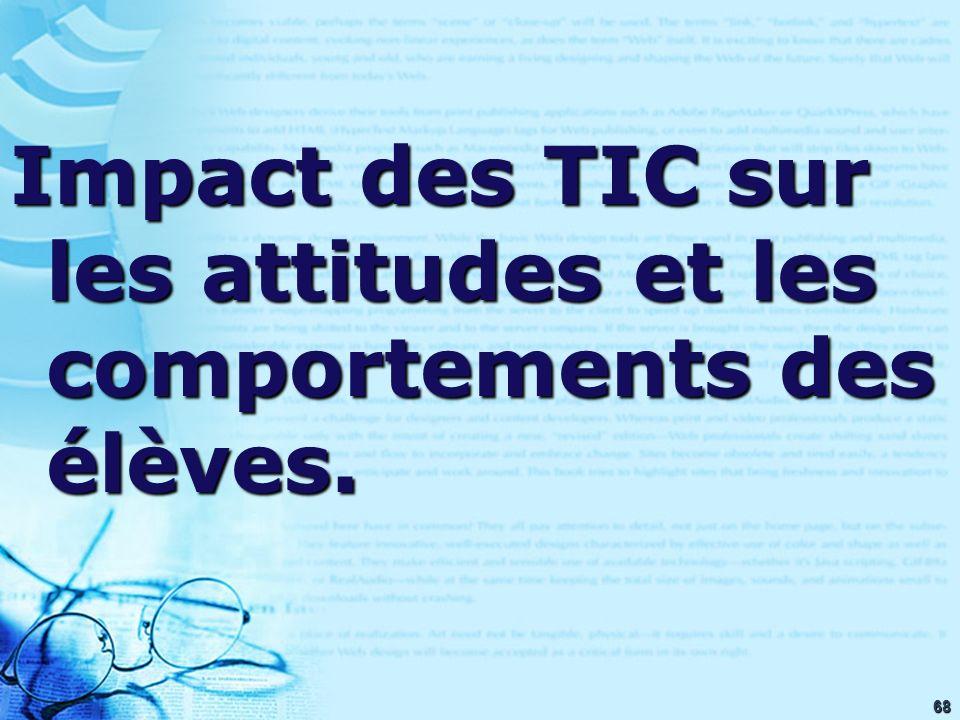 68 Impact des TIC sur les attitudes et les comportements des élèves.