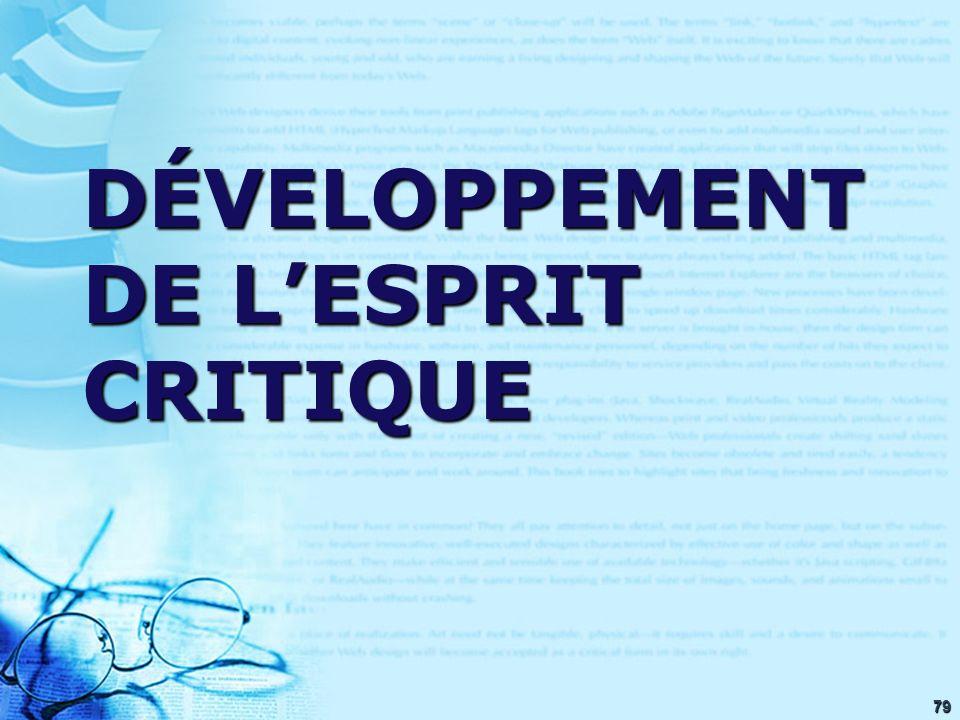 79 DÉVELOPPEMENT DE LESPRIT CRITIQUE