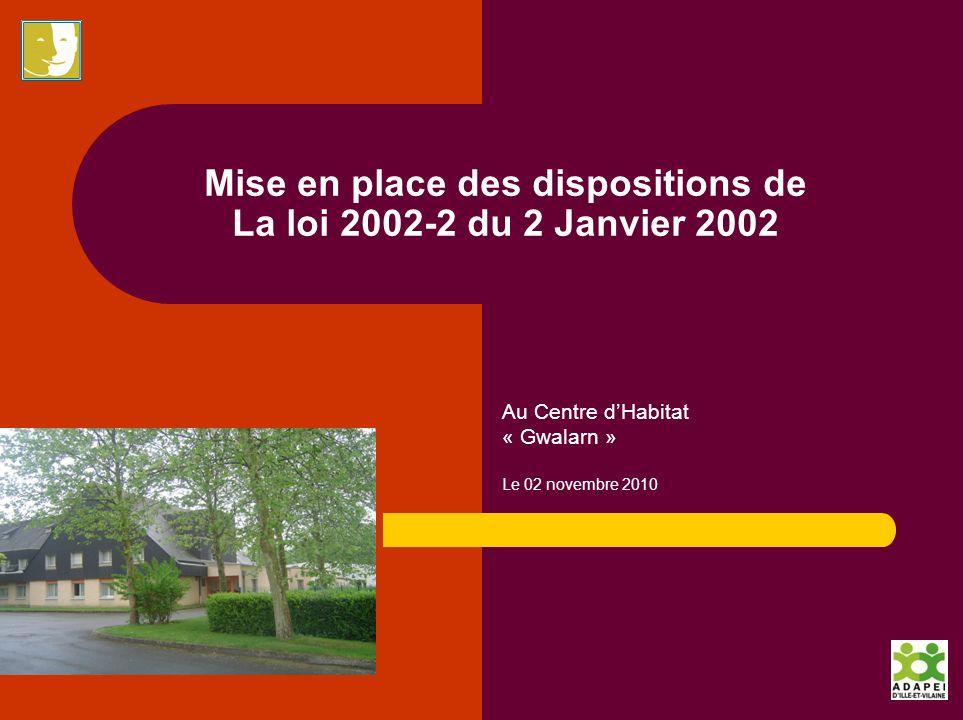 Mise en place des dispositions de La loi 2002-2 du 2 Janvier 2002 Au Centre dHabitat « Gwalarn » Le 02 novembre 2010