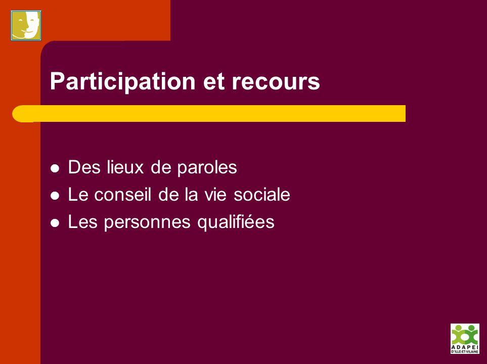 Participation et recours Des lieux de paroles Le conseil de la vie sociale Les personnes qualifiées