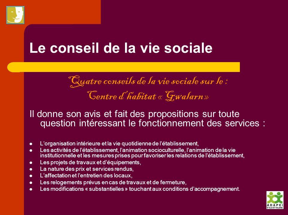 Le conseil de la vie sociale Quatre conseils de la vie sociale sur le : Centre dhabitat « Gwalarn » Il donne son avis et fait des propositions sur tou