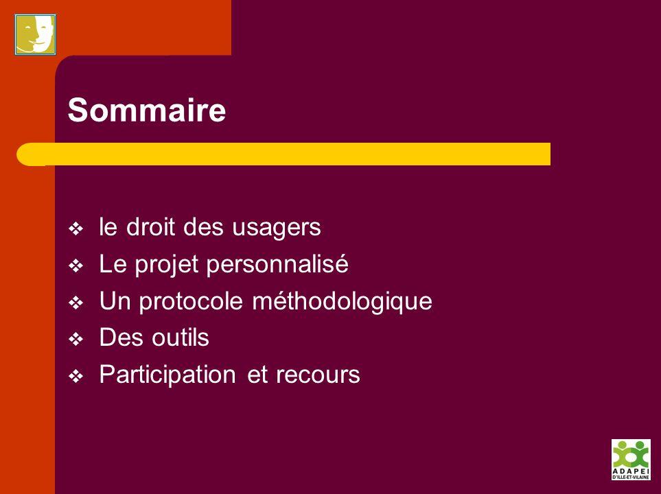 Sommaire le droit des usagers Le projet personnalisé Un protocole méthodologique Des outils Participation et recours