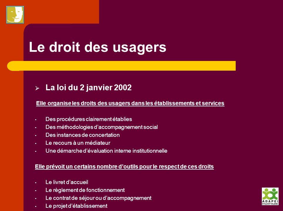Le droit des usagers La loi du 2 janvier 2002 Elle organise les droits des usagers dans les établissements et services Des procédures clairement établ