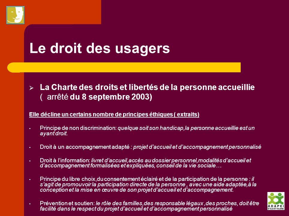 Le droit des usagers La Charte des droits et libertés de la personne accueillie ( arrêté du 8 septembre 2003) Elle décline un certains nombre de princ