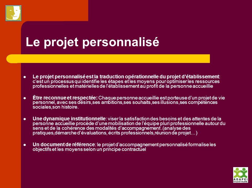 Le projet personnalisé Le projet personnalisé est la traduction opérationnelle du projet détablissement: cest un processus qui identifie les étapes et