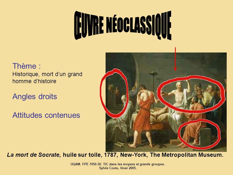 Thème : Historique, mort dun grand homme dhistoire Angles droits Attitudes contenues La mort de Socrate, huile sur toile, 1787, New-York, The Metropol