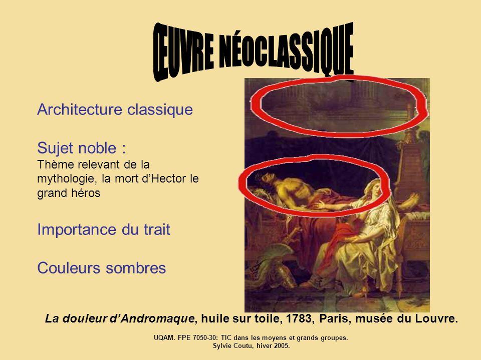 Architecture classique Sujet noble : Thème relevant de la mythologie, la mort dHector le grand héros Importance du trait Couleurs sombres La douleur d