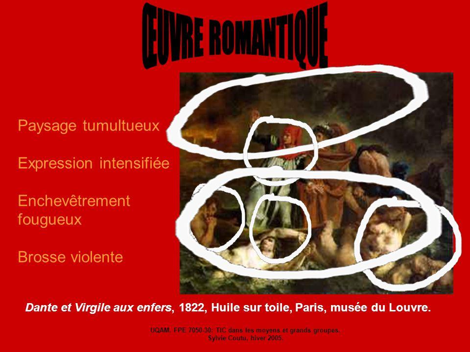 Paysage tumultueux Expression intensifiée Enchevêtrement fougueux Brosse violente Dante et Virgile aux enfers, 1822, Huile sur toile, Paris, musée du