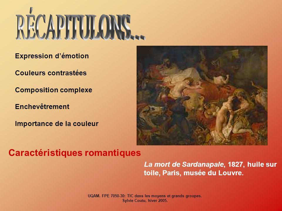 Expression démotion Couleurs contrastées Composition complexe Enchevêtrement Importance de la couleur Caractéristiques romantiques La mort de Sardanap