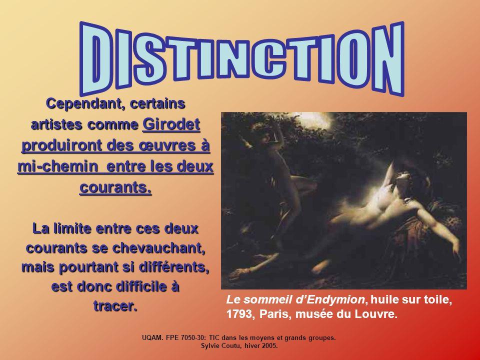 Cependant, certains artistes comme Girodet produiront des œuvres à mi-chemin entre les deux courants. La limite entre ces deux courants se chevauchant