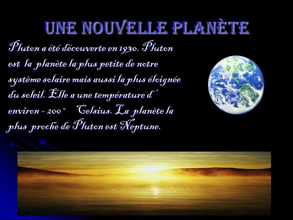 Une nouvelle planète Pluton a été découverte en 1930. Pluton est la planète la plus petite de notre système solaire mais aussi la plus éloignée du sol