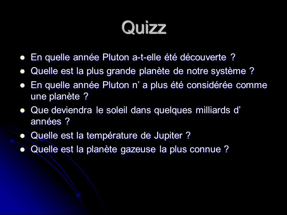 Quizz En quelle année Pluton a-t-elle été découverte ? En quelle année Pluton a-t-elle été découverte ? Quelle est la plus grande planète de notre sys
