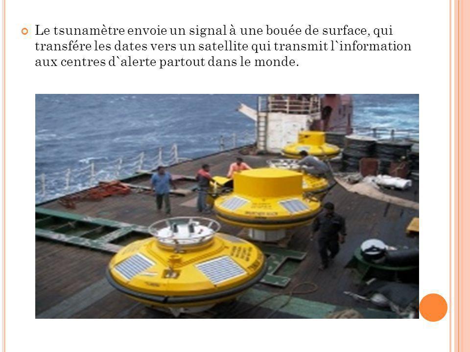 Le tsunamètre envoie un signal à une bouée de surface, qui transfére les dates vers un satellite qui transmit l`information aux centres d`alerte parto