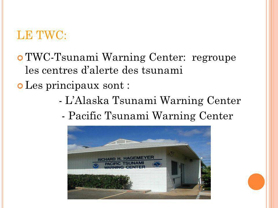 LE TWC: TWC-Tsunami Warning Center: regroupe les centres dalerte des tsunami Les principaux sont : - LAlaska Tsunami Warning Center - Pacific Tsunami