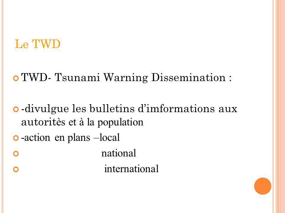 Le TWD TWD- Tsunami Warning Dissemination : -divulgue les bulletins dimformations aux autorit ès et à la population -action en plans –local national i