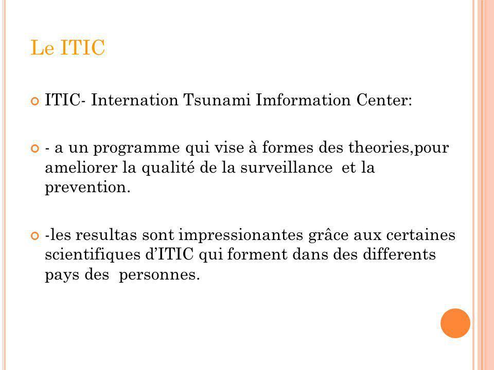 Le ITIC ITIC- Internation Tsunami Imformation Center: - a un programme qui vise à formes des theories,pour ameliorer la qualité de la surveillance et