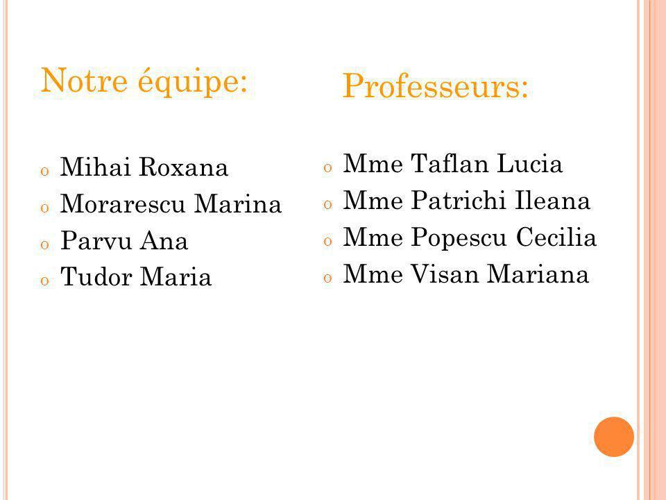 Notre équipe: o Mihai Roxana o Morarescu Marina o Parvu Ana o Tudor Maria Professeurs: o Mme Taflan Lucia o Mme Patrichi Ileana o Mme Popescu Cecilia