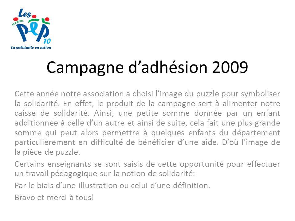 Campagne dadhésion 2009 Cette année notre association a choisi limage du puzzle pour symboliser la solidarité.