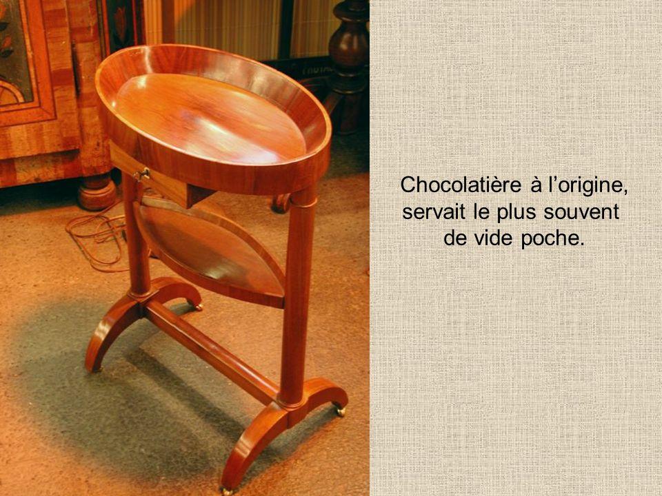 Chocolatière à lorigine, servait le plus souvent de vide poche.
