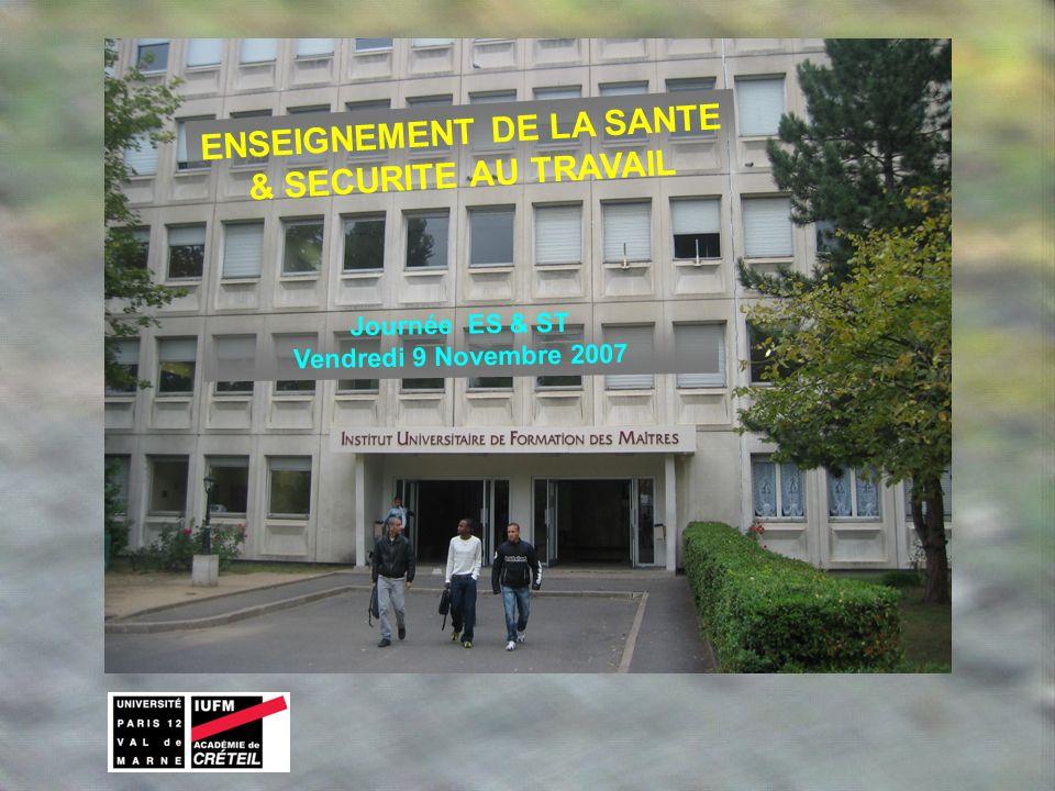 ENSEIGNEMENT DE LA SANTE & SECURITE AU TRAVAIL Journée ES & ST Vendredi 9 Novembre 2007