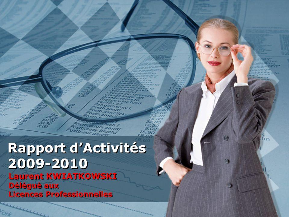 Rapport dActivités 2009-2010 Laurent KWIATKOWSKI Délégué aux Licences Professionnelles