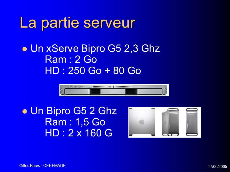 17/06/2005 Gilles Barès - CEREMADE La partie serveur Un xServe Bipro G5 2,3 Ghz Ram : 2 Go HD : 250 Go + 80 Go Un Bipro G5 2 Ghz Ram : 1,5 Go HD : 2 x 160 G