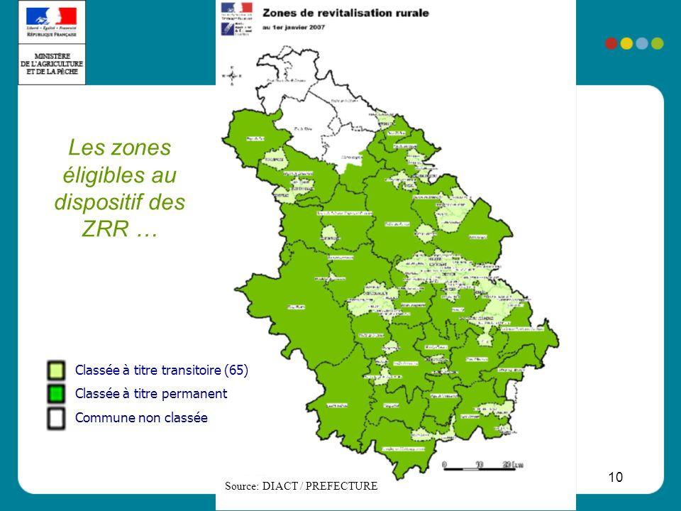 10 Les zones éligibles au dispositif des ZRR … Source: DIACT / PREFECTURE Classée à titre transitoire (65) Classée à titre permanent Commune non class