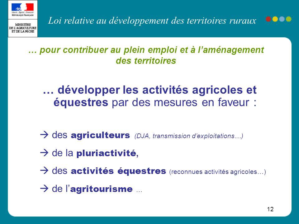 Loi relative au développement des territoires ruraux 12 … pour contribuer au plein emploi et à laménagement des territoires … développer les activités