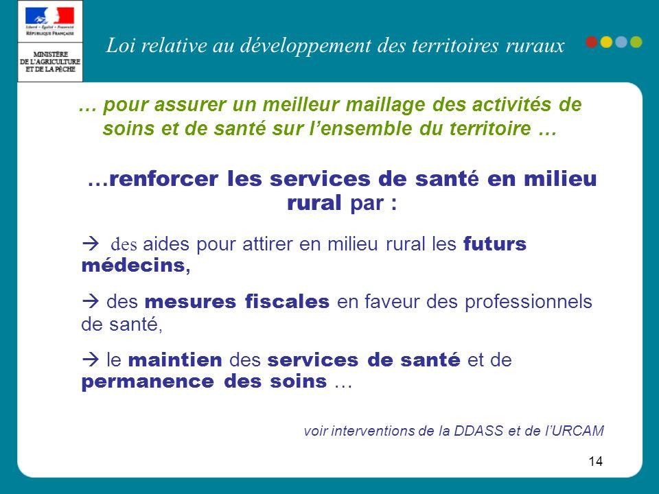 Loi relative au développement des territoires ruraux 14 … pour assurer un meilleur maillage des activités de soins et de santé sur lensemble du territ