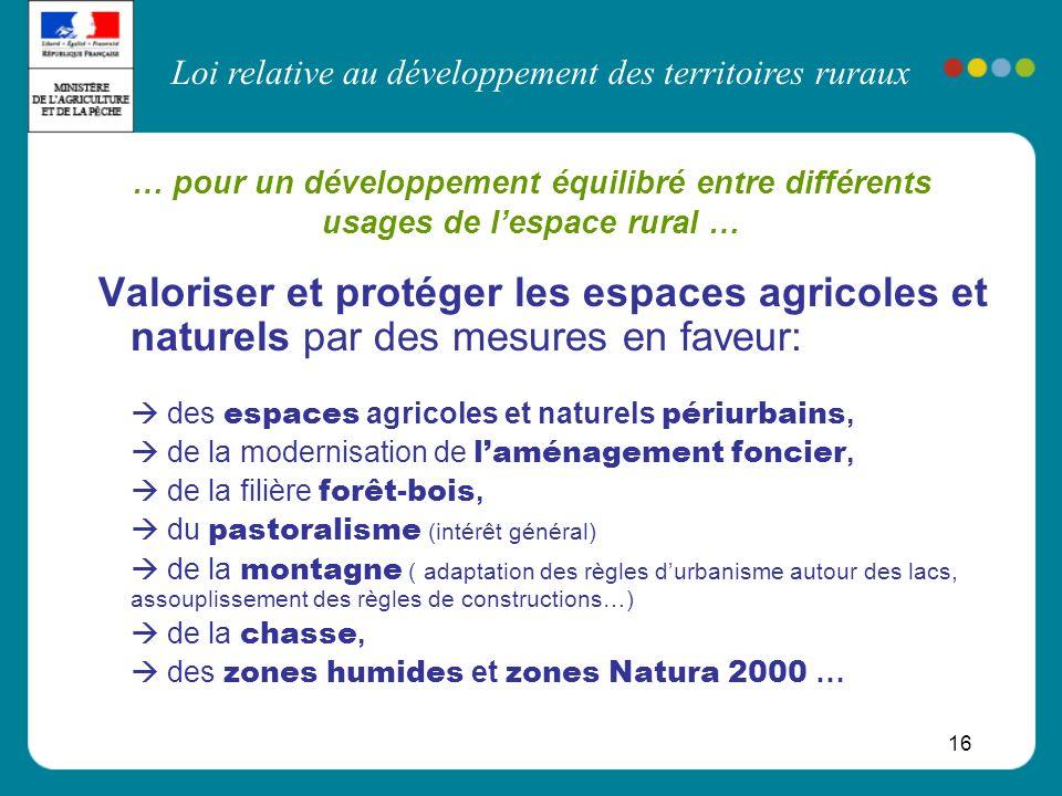 Loi relative au développement des territoires ruraux 16 Valoriser et protéger les espaces agricoles et naturels par des mesures en faveur: des espaces