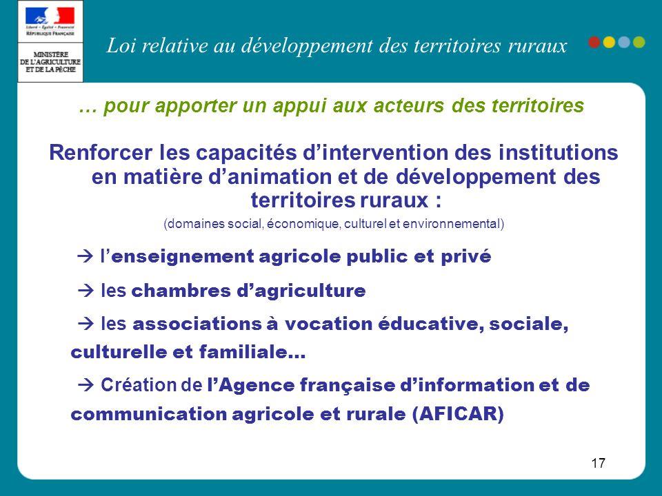 Loi relative au développement des territoires ruraux 17 Renforcer les capacités dintervention des institutions en matière danimation et de développeme