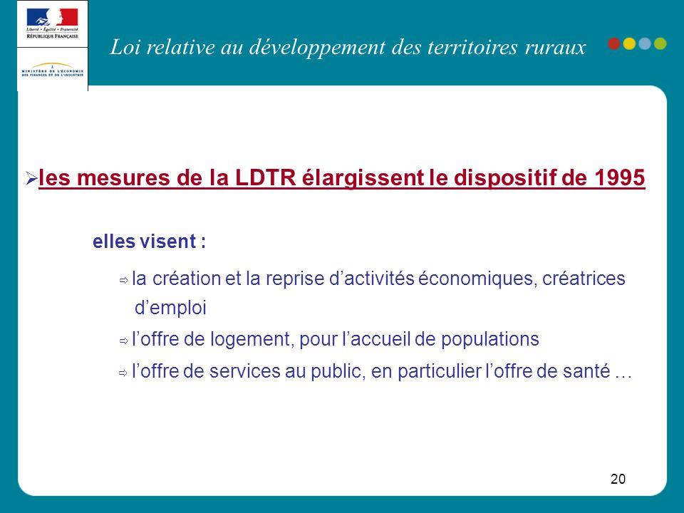 Loi relative au développement des territoires ruraux 20 les mesures de la LDTR élargissent le dispositif de 1995 elles visent : la création et la repr