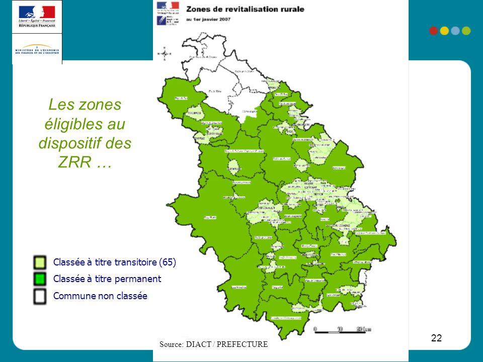 22 Les zones éligibles au dispositif des ZRR … Source: DIACT / PREFECTURE Classée à titre transitoire (65) Classée à titre permanent Commune non class