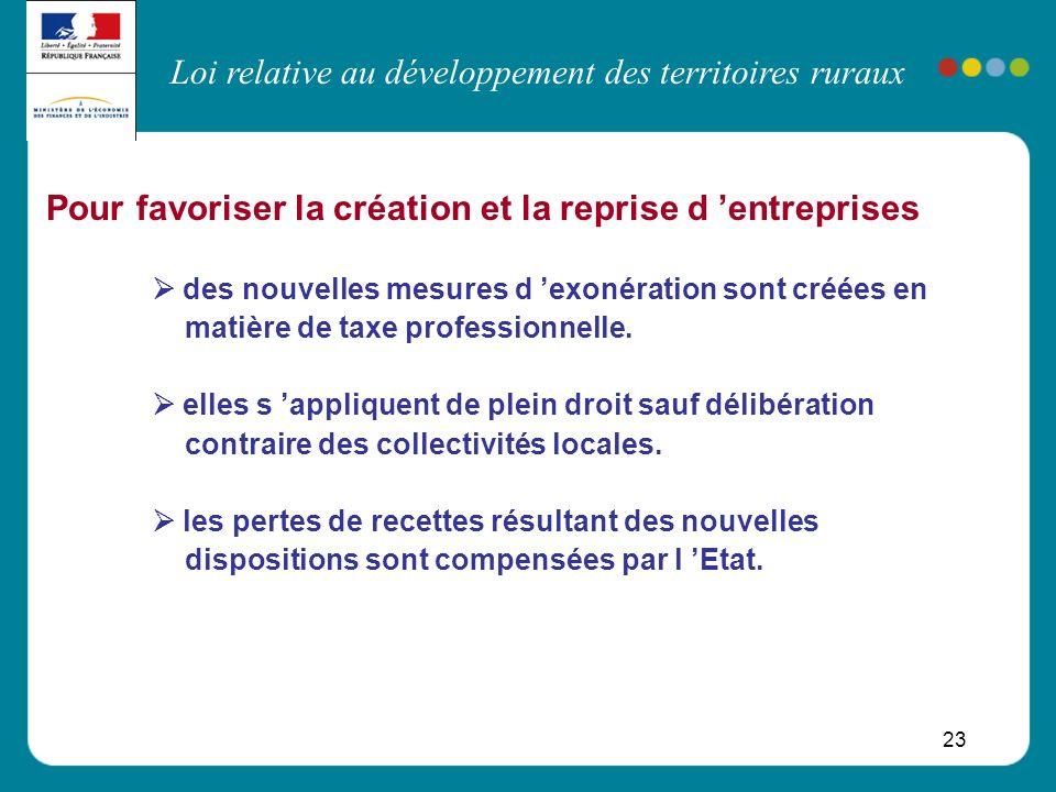 Loi relative au développement des territoires ruraux 23 Pour favoriser la création et la reprise d entreprises des nouvelles mesures d exonération son