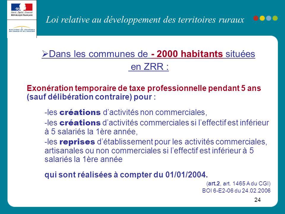 Loi relative au développement des territoires ruraux 24 Dans les communes de - 2000 habitants situées en ZRR : Exonération temporaire de taxe professi