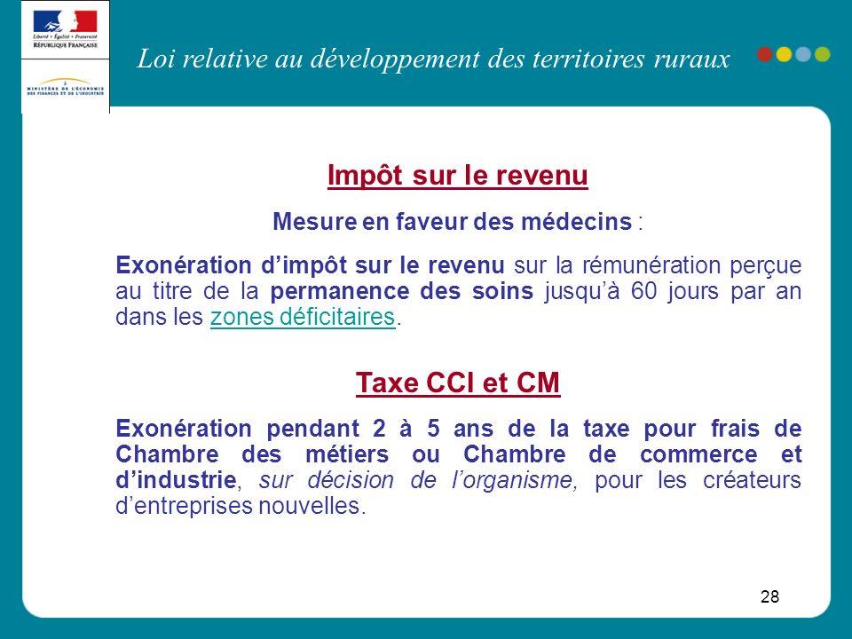 Loi relative au développement des territoires ruraux 28 Impôt sur le revenu Mesure en faveur des médecins : Exonération dimpôt sur le revenu sur la ré