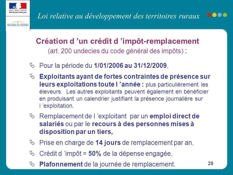Loi relative au développement des territoires ruraux 29 Création d un crédit d impôt-remplacement (art. 200 undecies du code général des impôts) : Pou