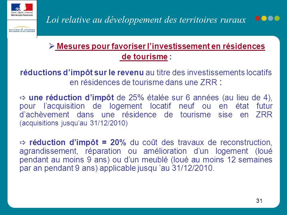 Loi relative au développement des territoires ruraux 31 Mesures pour favoriser linvestissement en résidences de tourisme : réductions dimpôt sur le re